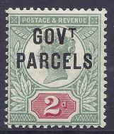 sg070 2d Green  Scarlet Jubilee GOVT PARCELS overprint UNMOUNTED MINT