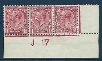 N16(8) 1d Pale Red Royal Cypher Control J 17 imperf UNMOUNTED MINT MNH
