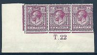 N26(5) 6d Deep Red-Purple Royal Cypher control T Dot 22 imperf UNMOUNTED MINT