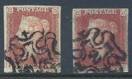 1d Penny Red Full set of 12 Numbers in London Maltese Crosses all 4 margins