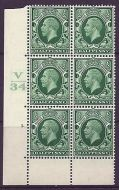 1934 1/2d Photogravure cyl blk V34 3 Dot perf 6B(E/P) Block of 6 UNMOUNTED MINT