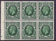 NB21 ½d Photogravure Small Format pane of 6 Cyl E6 Dot perf I UNMOUNTED MINT/MNH