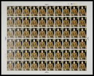 1968 4d Paintings complete full sheet No dot UNMOUNTED MINT