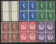1957 1st graphites Full set of 6 values in blocks of 4 UNMOUNTED MINT
