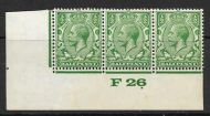 ½d Green Block Cypher Control F26 imperf strip of 3 UNMOUNTED MINT