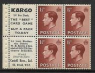 PB5 (6) KARGO advert pane Superb perfs complete with Card Game UNMOUNTED MINT