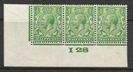 ½d Green Block Cypher Control I28 imperf MOUNTED MINT