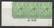 ½d Green Block Cypher Control J28 imperf MOUNTED MINT/MM