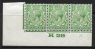 ½d Green Block Cypher Control K29 imperf MOUNTED MINT