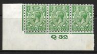 ½d Green Block Cypher Control Q32 imperf MOUNTED MINT