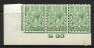½d Green Block Cypher Control S33 imperf MOUNTED MINT