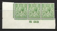 ½d Green Block Cypher Control S33 imperf MOUNTED MINT/MM