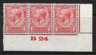 1d Scarlet Block Cypher Control B24 imperf MOUNTED MINT