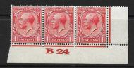 1d Scarlet Block Cypher Control B24 imperf MOUNTED MINT/MM