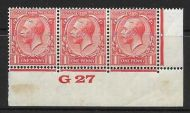 1d Scarlet Block Cypher Control G27 imperf MOUNTED MINT