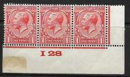 1d Scarlet Block Cypher Control I28 imperf MOUNTED MINT