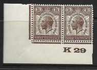 1929 1½d PUC Control K 29 pair UNMOUNTED MINT