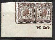 1929 1½d PUC Control K 29 pair UNMOUNTED MINT - No hinge
