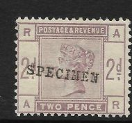 Sg 189s 2d Lilac from Lilac  Green issue SPECIMEN type 9 UNMOUNTED MINT