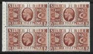 NComB7 1½d Silver Jubilee booklet pane - good perfs UNMOUNTED MINT