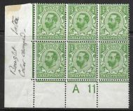 Sg 321 ½d Green Downey Head control A 11 perf 1A UNMOUNTED/MM in margin