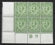 Sg 338 ½d Green Downey Head control B 11 perf 2A UNMOUNTED/MNH