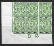 Sg 344 ½d Green Downey Head control B13 perf 2 MOUNTED MINT top left stamp