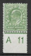 Sg 268 M3(2) ½d Dull Green Harrison Perf. 14 Control A11 Lightly MOUNTED MINT