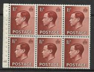 PB3 1½d Edward VIII Booklet pane Cyl G5 Dot perf type I UNMOUNTED MINT