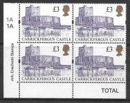 Sg 1995 £3 Enschede Castle corner marginal with Cylinder UNMOUNTED MINT/MNH
