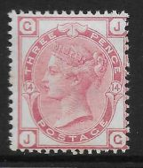 1873 - 1880 Sg 143 3d Rose Plate 14 Lettered J-G UNMOUNTED MINT/MNH
