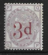 1880 - 1883 Sg 159 3d on 3d Lilac plate 21 Lettered Q-F UNMOUNTED MINT
