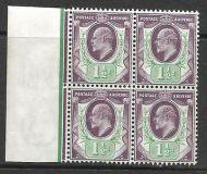 Sg224 M9(2) 1½d Slate Purple  Blue Green (c) De La Rue LH marg 4 UNMOUNTED MINT