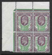 Sg289 Spec M10(7) 1½d Slate Purple  Green(f) corner 4 Somerset House UNMOUNTED