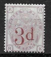 1880 - 1883 Sg 159 3d on 3d Lilac plate 21 Lettered R-K UNMOUNTED MINT