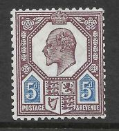 Spec M30(2) 5d Dull Red Purple  Bright Blue Somerset House UNMOUNTED MINT