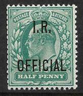 Sg O20 ½d Green Edward VII I R OFFICIAL overprint UNMOUNTED MINT/MNH