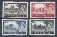 1959 Sg 595-598 2nd De La Rue Castles all 4 values - cream paper UNMOUNTED MINT
