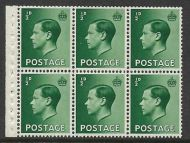 PB1a ½d Edward VIII Booklet pane Inverted perf type I UNMOUNTED MINT