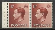 PB4a 1½d Edward VIII Booklet pane perf type P UNMOUNTED MINT