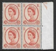 S98ab 4½d Wilding Typo 6mm band at right block of 4 UNMOUNTED MINT