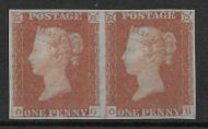 Sg 8 1d Penny Red plate 74 pair lettered O-G/O-H - UNMOUNTED MINT