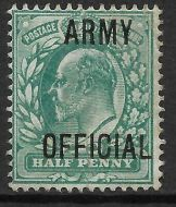 Sg O48 ½d Green Edward VII ARMY OFFICIAL overprint UNMOUNTED MINT