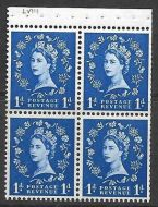 SB27b 1d Wilding booklet pane perf type AP with listed variety UNMOUNTED MNT