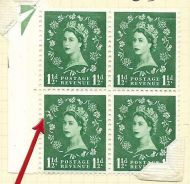 S34f variety 1½d Wilding blue phos - Thistle Flaw block of 4 UNMOUNTED MINT