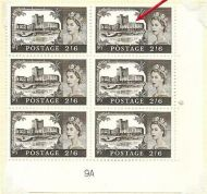Sg T6a 2/6 Castles Cylinder 9A with listed variety UNMOUNTED MINT