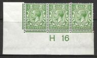 N14(6) ½d Bright Green Control H16 Imperf strip of 3 UNMOUNTED MINT