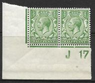 N14(3) ½d Pale Green Control J17 Imperf pair UNMOUNTED MINT