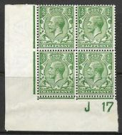 N14(6) ½d Bright Green Control J17 Imperf block of 4 UNMOUNTED MINT