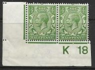 N14(8) ½d Yellow Green Control K18 Imperf pair UNMOUNTED MINT